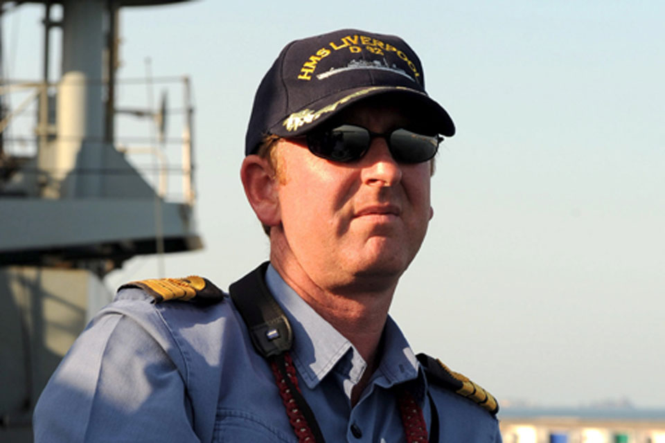 HMS Liverpool's Commanding Officer, Commander Colin Williams