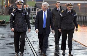 Defence Secretary Michael Fallon visiting HMNB Clyde. Crown Copyright.