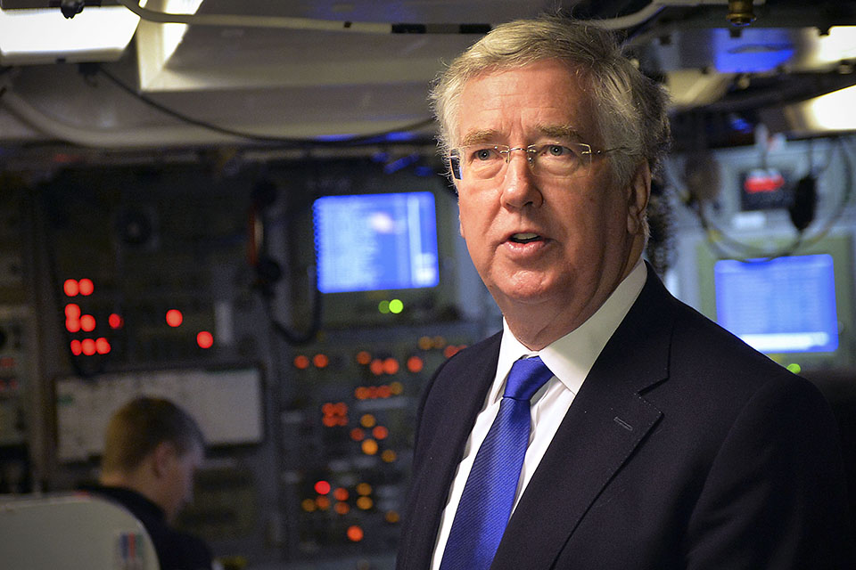 Defence Secretary Michael Fallon visiting HMNB Clyde. Crown Copyright.