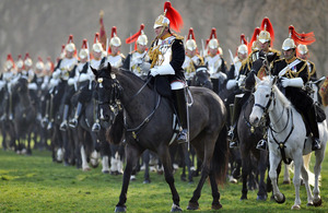 Lieutenant Colonel Dan Hughes, Commanding Officer of the Household Cavalry Mounted Regiment, leads a parade in Hyde Park during the Major General's Inspection