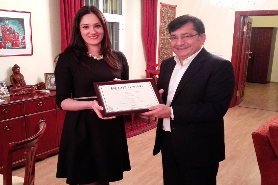 Presentation of Chevening certificate
