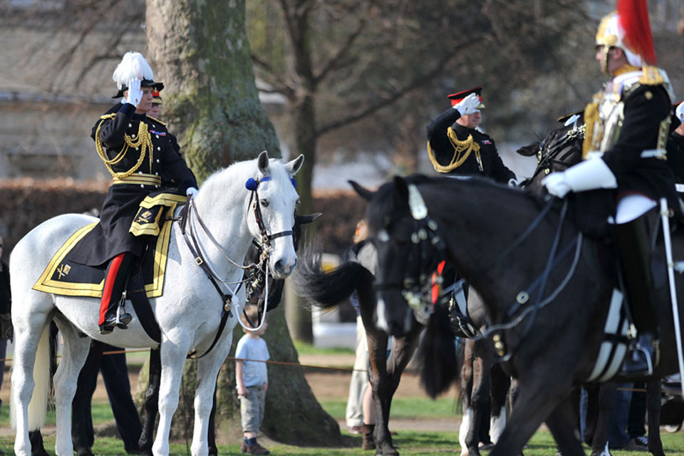 General Salute during the Household Cavalry Mounted Regiment's march past Major General George Norton in Hyde Park