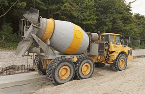 A cement mixer truck