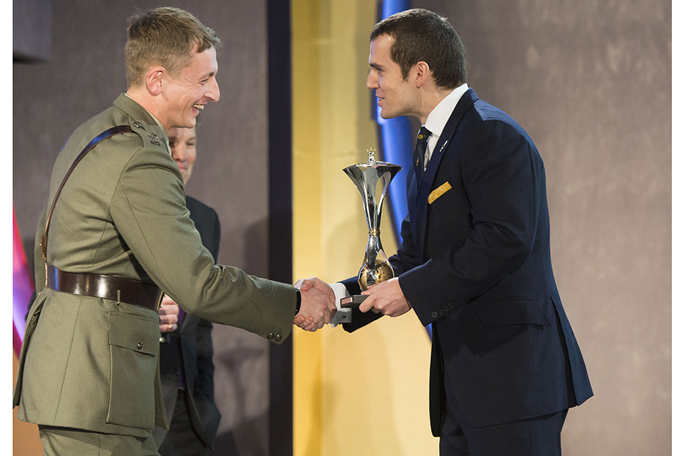 Best Reservist, presented by Henry Cavill to Major Henry Dowlen. Picture: The Sun