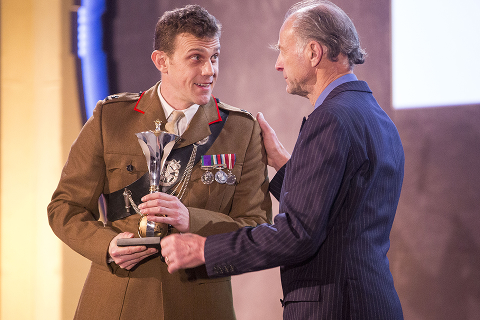 Most Outstanding Soldier. Ranulph Feinnes presents the award to Major Andrew Todd. Picture: The Sun
