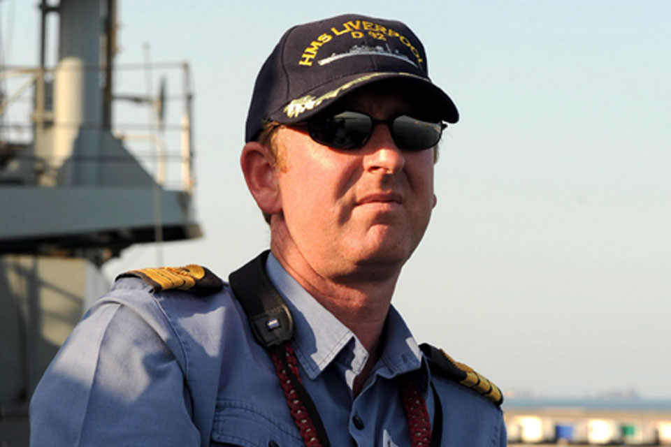 Commander Colin Williams, HMS Liverpool's Commanding Officer, during the ship's deployment to Libya
