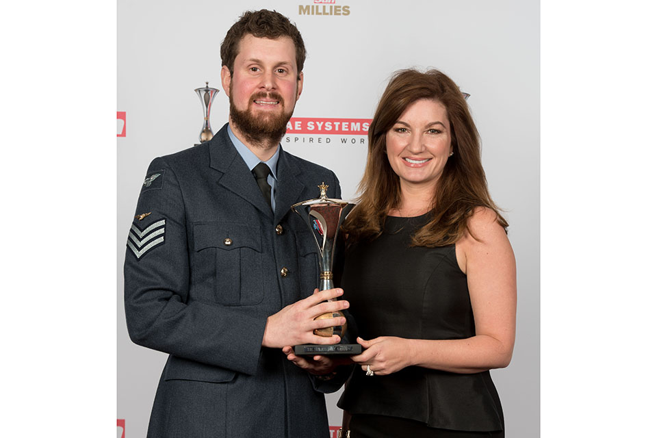 Most Outstanding Airmen awarded to RAF medic sgt Michael Beamish presented by Karren Brady at the Guild Hall, London. Picture: The Sun