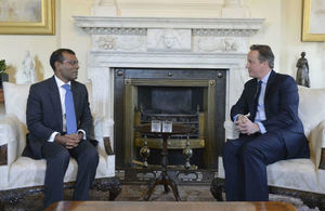 Prime Minister David Cameron and former Maldives President Mohamed Nasheed