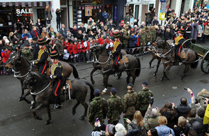 King's Troop Royal Horse Artillery ride down St John's Wood High Street as part of a final farewell to the area