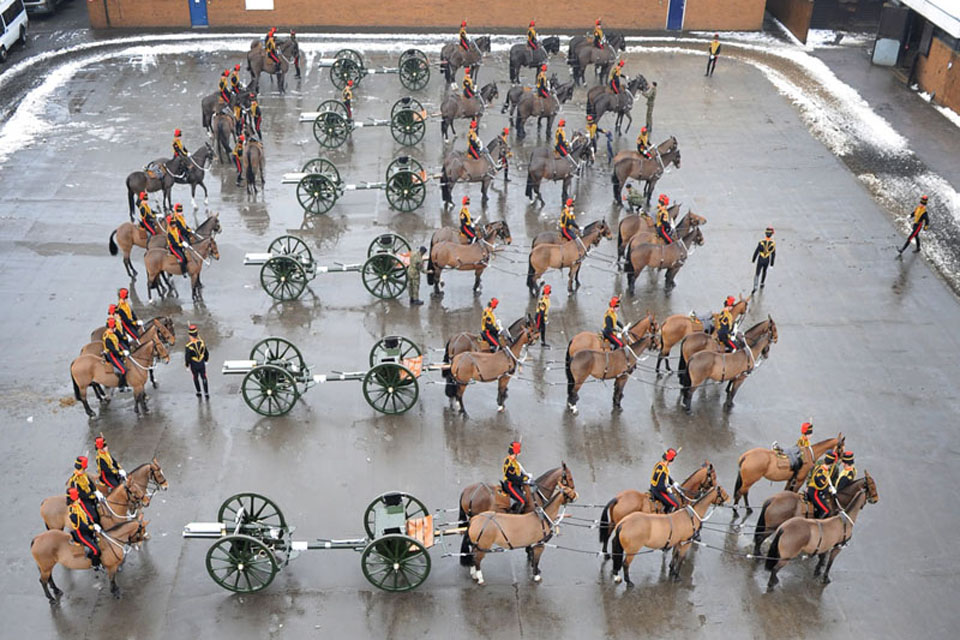 King's Troop Royal Horse Artillery form up for the parade at St John's Wood Barracks