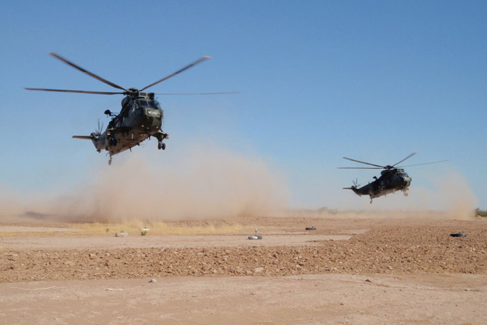 Sea King helicopters practise formation dust landings