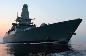 Type 45 frigate at sea