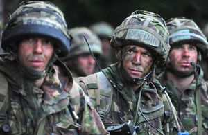 Officer cadets during the final phase of Exercise Dynamic Victory