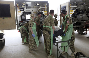 A casualty arrives at the main hospital in Camp Bastion