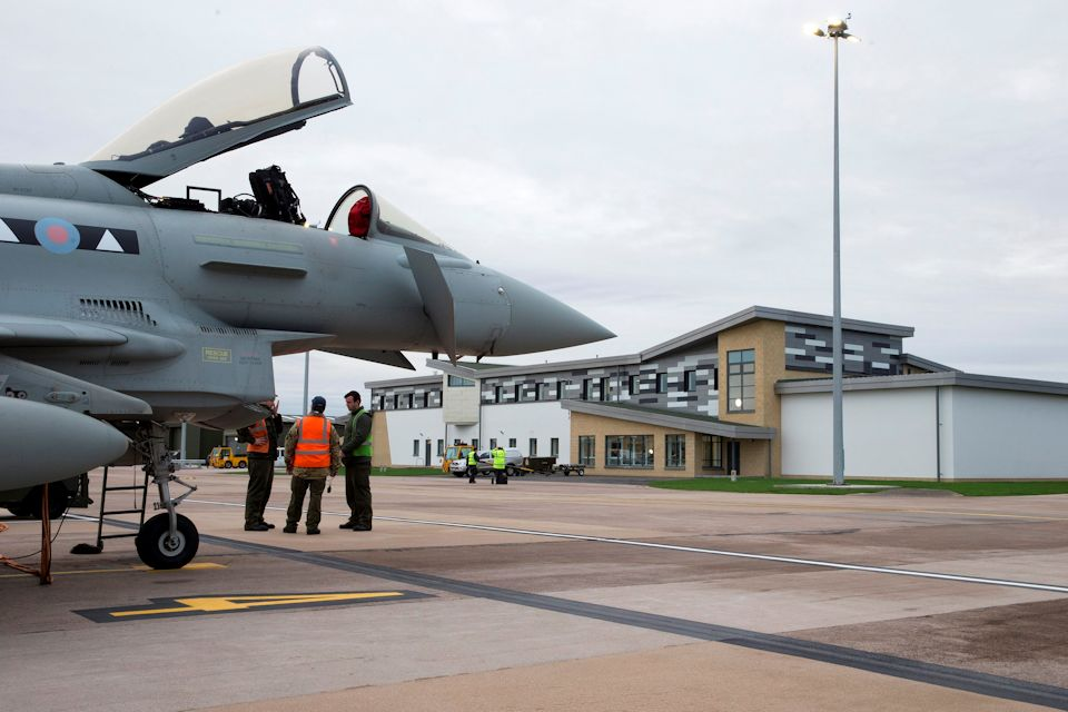 II (Army Cooperation) Squadron Typhoon outside new sqn building at RAF Lossiemouth. Crown Copyright. Photo: SAC Robyn Stewart.