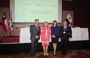 HMA Dr. Ian Collard, Vivianne Blanlot, President of Chilean Transparency Council, Angelica I. Maytin Justiniani, General Director ANTAI, Francisco Cruz, Chilean Ambassador to Panama.