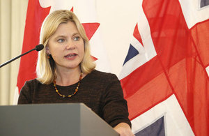 Justine Greening calls on world leaders to increase funding for education for Syrian children. Picture: Russell Watkins/DFID