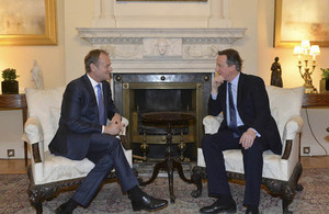 Prime Minister David Cameron meeting EU Council President, Donald Tusk in Number 10 Downing Street.