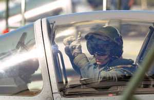 Typhoon FGR4 pilot signals to ground crew