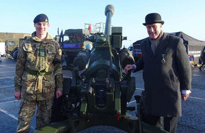Minister for Reserves with a renovated Churchill Tank. Crown Copyright.