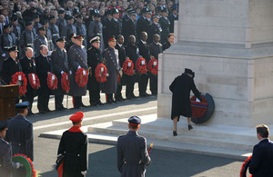 Her Majesty The Queen lays a wreath at the foot of the Cenotaph in London on Remembrance Sunday