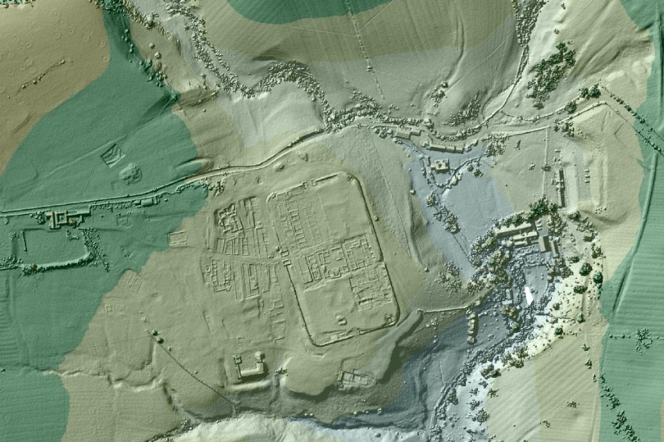 Vindolanda Roman fort: image created using EA LIDAR data