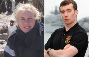 Student nurse Able Rate Ellie Walls (left) and Royal Marines Corporal Ian Ronald