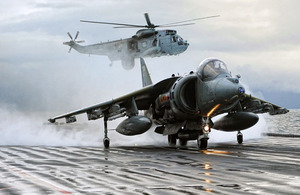 HMS Ark Royal, winner of the Peregrine Trophy. A Harrier GR9 prepares to launch off the deck of HMS Ark Royal for the last time, prior to the ship's decommissioning