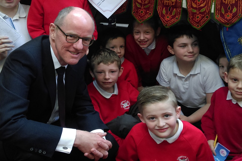 Nick Gibb at St Andrew's Primary School, Soham, Cambridgeshire