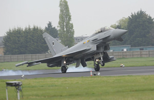 An RAF Typhoon touches down at RAF Northolt, West London, today, 2 May 2012, ahead of an Olympics air security exercise