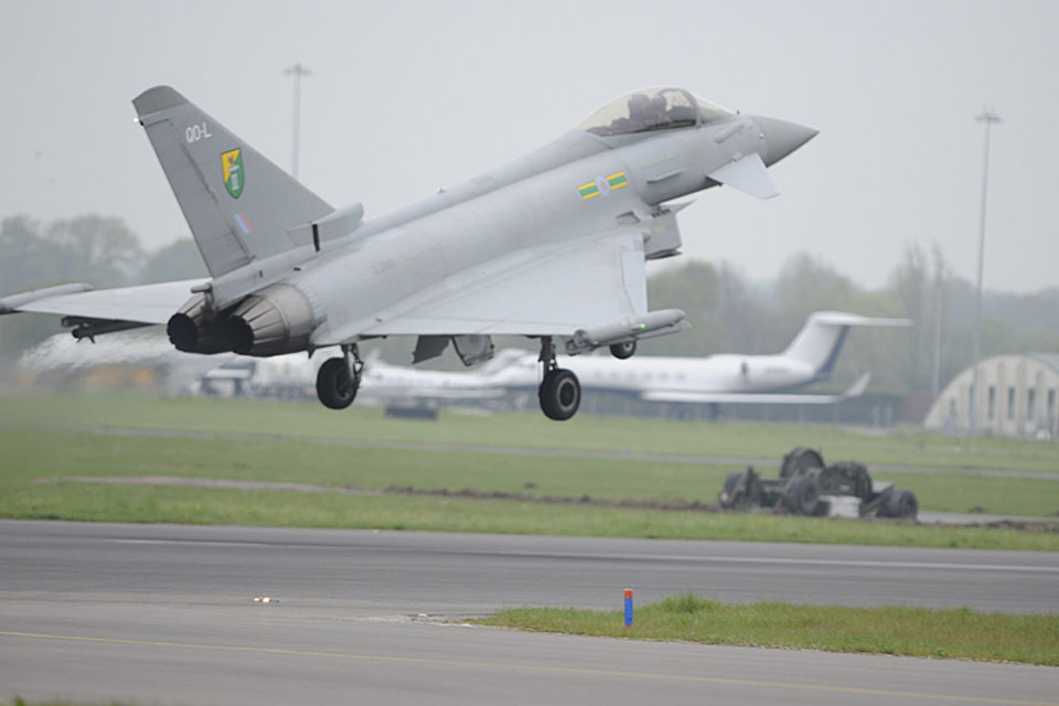 An RAF Typhoon arrives at RAF Northolt