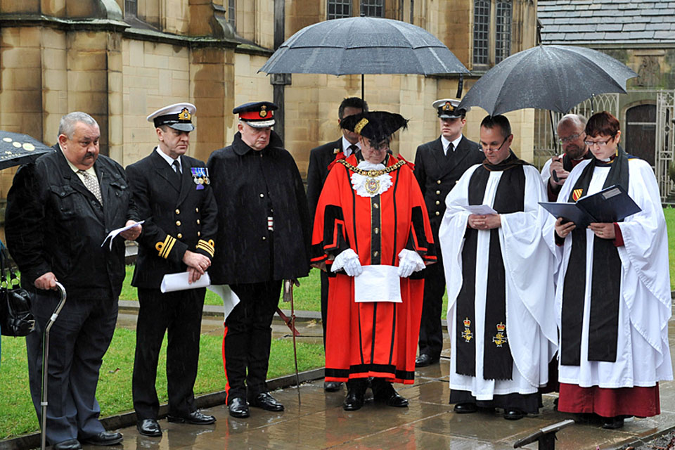 Members of HMS Manchester's ship's company join the Lord Mayor of Manchester for a special service at Manchester Cathedral