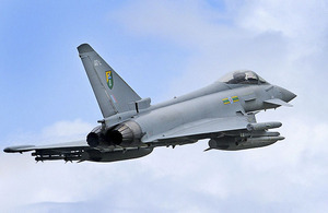 RAF Typhoon FGR4 aircraft departs Gioia del Colle air base in southern Italy on a mission over Libya (stock image)