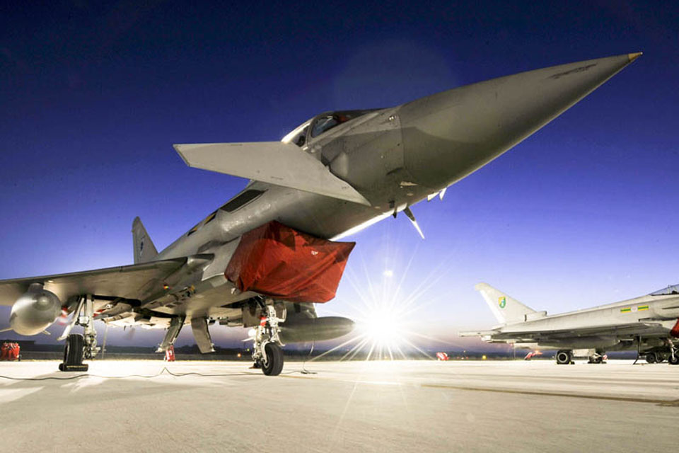 RAF Typhoon aircraft await their next sortie at Gioia del Colle air base in southern Italy (stock image)