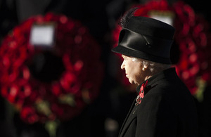 Her Majesty The Queen at the National Service of Remembrance at The Cenotaph in London