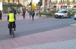 The cycle super crossing into Leicester's Granby Street.