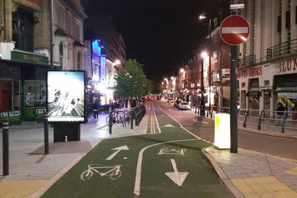 Leicester's contraflow cycleway along Granby Street, leading from the super crossing.