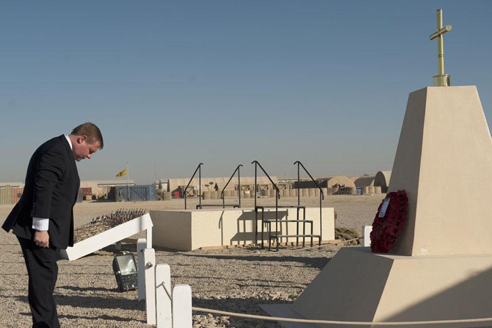 Veterans Minister Mark Francois laid a wreath at Camp Bastion's vigil site