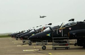 Hawk aircraft on the runway at RAF Valley. Picture via MOD. Crown Copyright 2002.