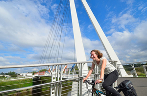 Diglis Bridge for cyclists and pedestrians over River Servern at Worcester