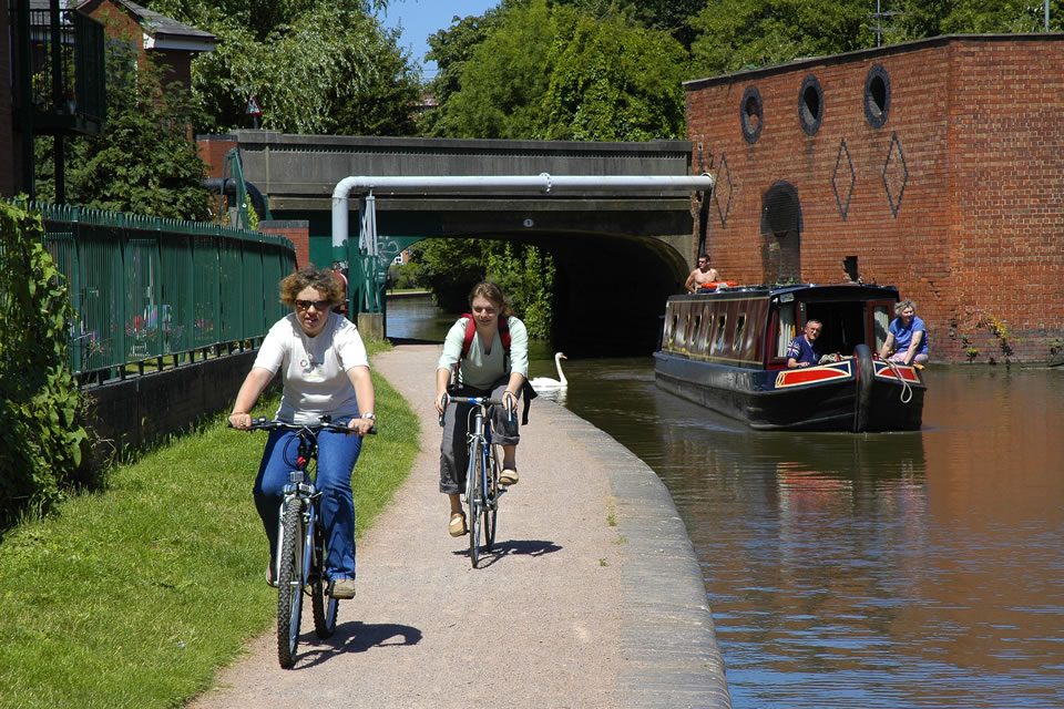 Canal towpath cycle route.