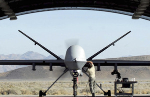 A MQ-9 Reaper unmanned aerial vehicle based at Creech Air Force Base, Nevada, USA, is prepared for a training mission over the west coast of America (stock image)