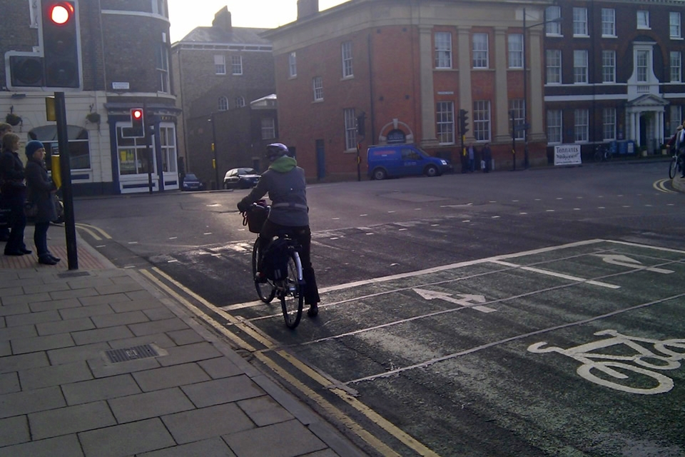 Cyclist at Queen Street junction.