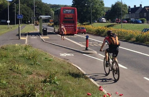 Bus stop bypass on Lewes Road, Brighton showing the cycle path deflection and the bus passenger crossing point.