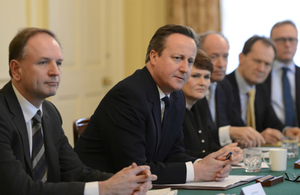 Prime Minister David Cameron hosts a mental health roundtable meeting in the Cabinet Room at 10 Downing Street.