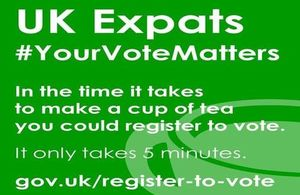 UK citizens living overseas: register to vote