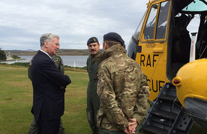 Defence Secretary Michael Fallon has visited the Falkland Islands to discuss new opportunities for the Islands and to pay his respects to those who fell in the 1982 conflict. Crown Copyright.