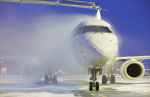 De-icing of an aircraft.