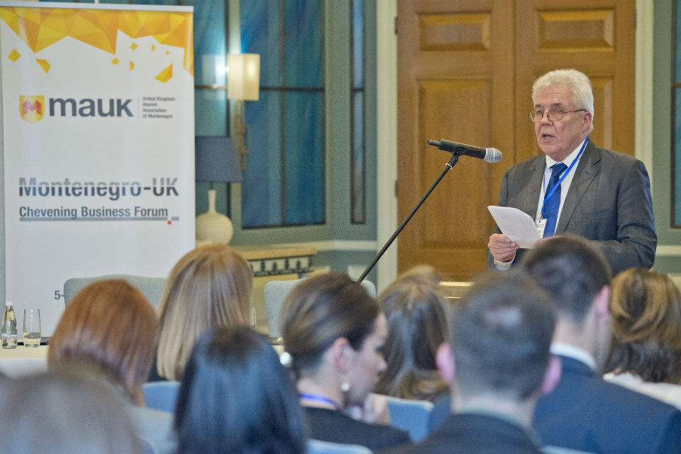 "Ambassador Ian Whitting, OBE opening ""Montenegro - UK Chevening Business Forum 2016"""