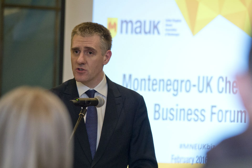"Mr Igor Luksic, President of the Council for Improvement of Business Environment, Regulatory, and Structural Reforms and Deputy Prime Minister and Foreign Minister of Montenegro opening ""Montenegro - UK Chevening Business Forum 2016"""